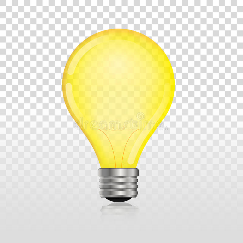 Glowing off electric light bulb. Realistic transparent lightbulb stock illustration