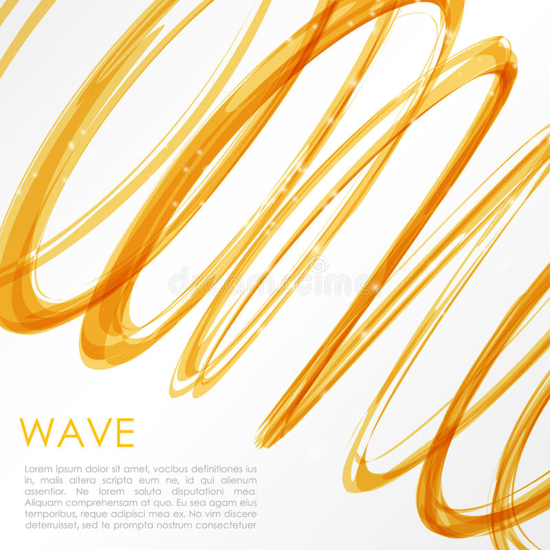 Glowing orange spiral on white background. Nature colors abstract light hi tech concept royalty free illustration