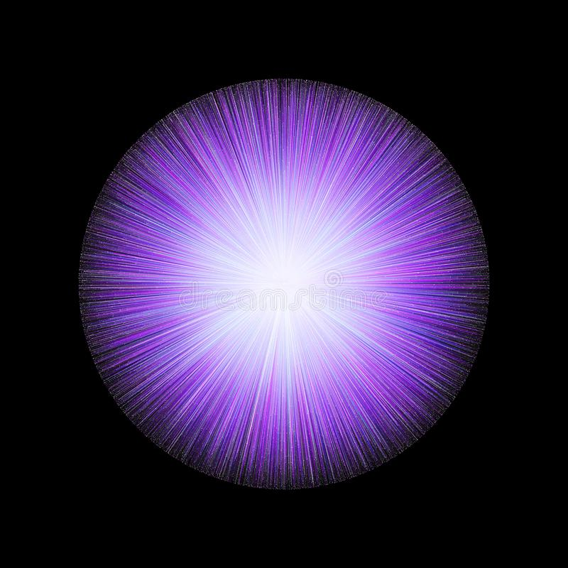 Glowing Orb With Rays Of Light On Black Background stock illustration