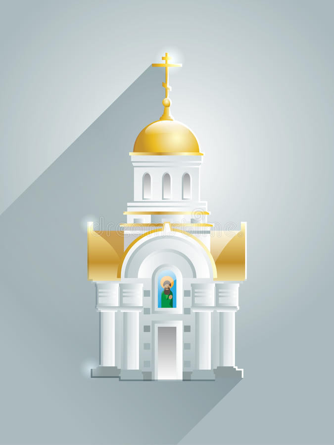 Glowing orthodox churches with long shadow. Golden dome and cross. vector illustration
