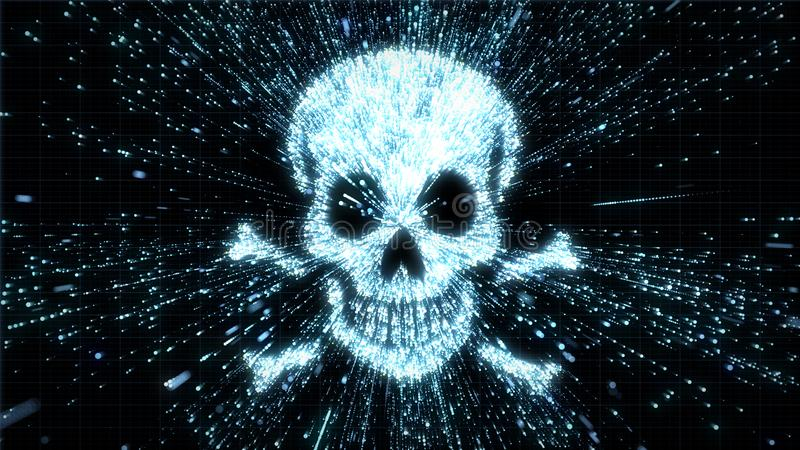 Glowing skull and crossbones illustration being in particle explosion with motion blur. Glowing particles exploding from image of a skull, with motion blur can stock illustration