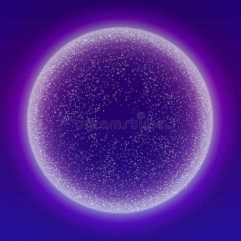 Glowing particles liquid dynamic flow with glowing bubble frame. Trendy fluid cover design. Eps10 vector illustration. Vector stock illustration