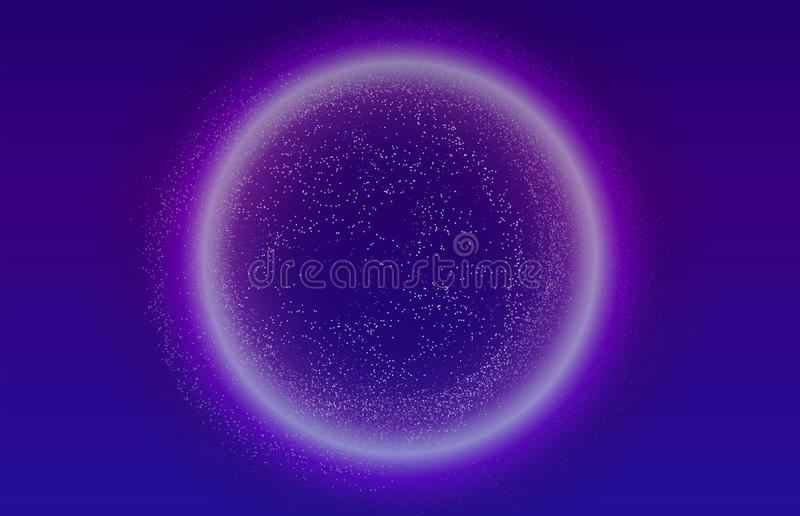 Glowing particles liquid dynamic flow with glowing bubble frame. Trendy fluid cover design. Eps10 vector illustration vector illustration