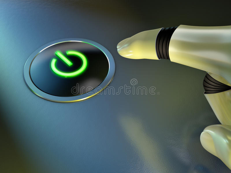 Glowing power button royalty free illustration