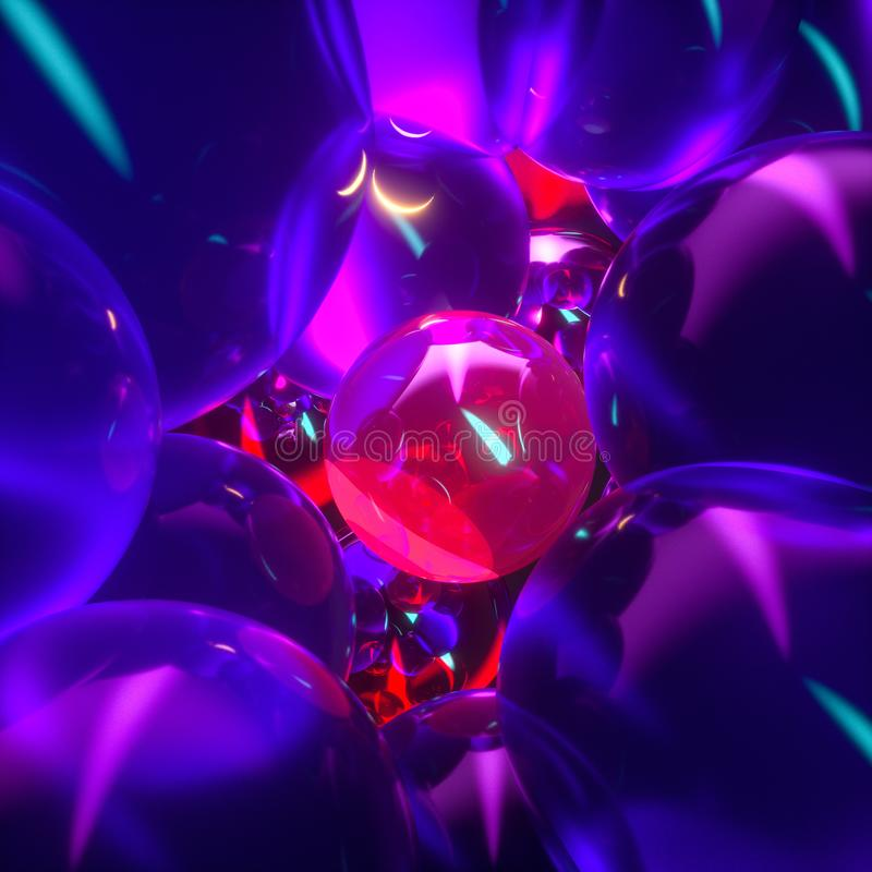 Glowing purple balloons, fantasy and abstract background, 3d rendering. Computer digital drawing, show, graphic, creative, color, magic, mystical, brilliance royalty free illustration