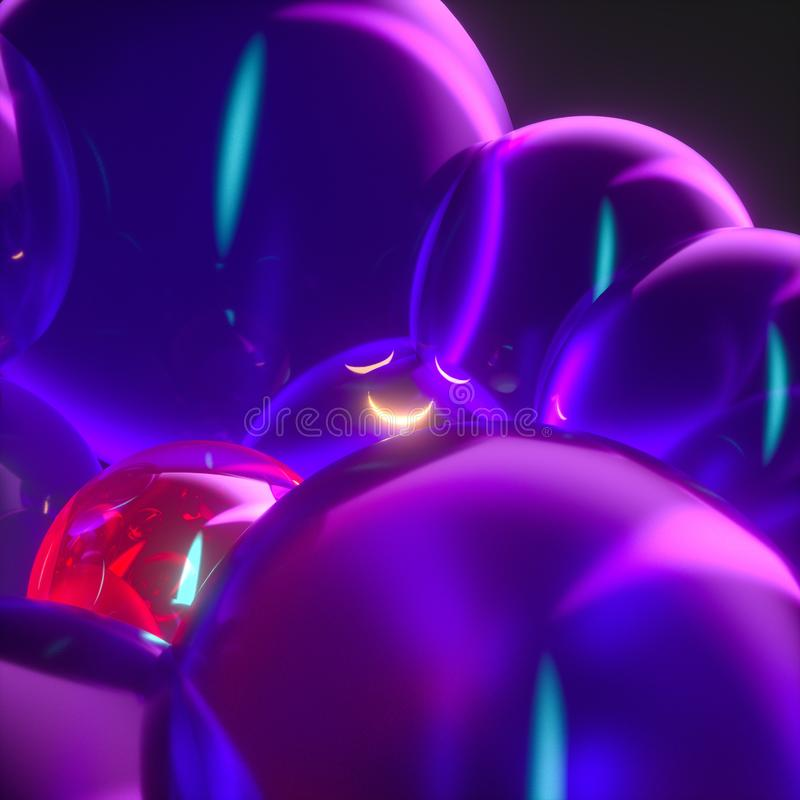 Glowing purple balloons, fantasy and abstract background, 3d rendering. Computer digital drawing, show, graphic, creative, color, magic, mystical, brilliance vector illustration