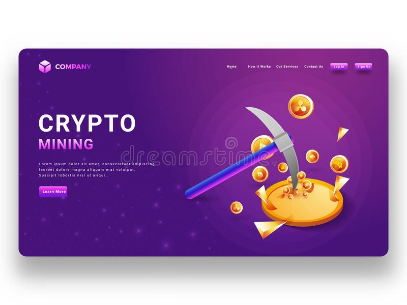 Glowing purple landing page or responsive website banner with vi. Rtual currency and pickaxe illustration for crypto mining concept vector illustration