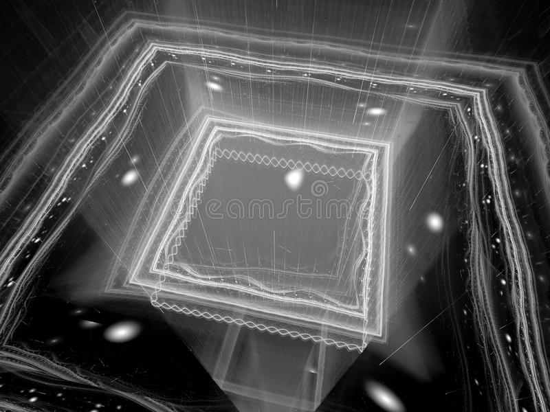 Glowing quantum processor black and white texture stock illustration