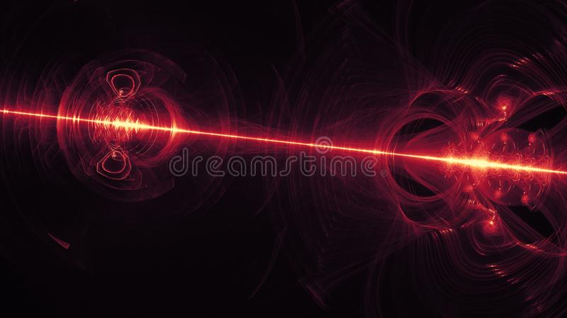 Glowing red curved lines over dark Abstract Background space universe. Illustration.  stock illustration