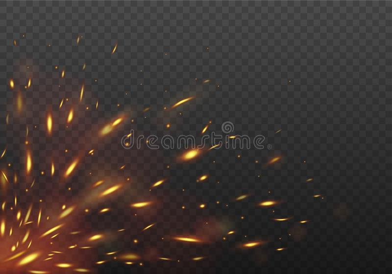 Glowing Red flying fire sparks. Fire Isolated on a black transparent background. Vector illustration. stock illustration