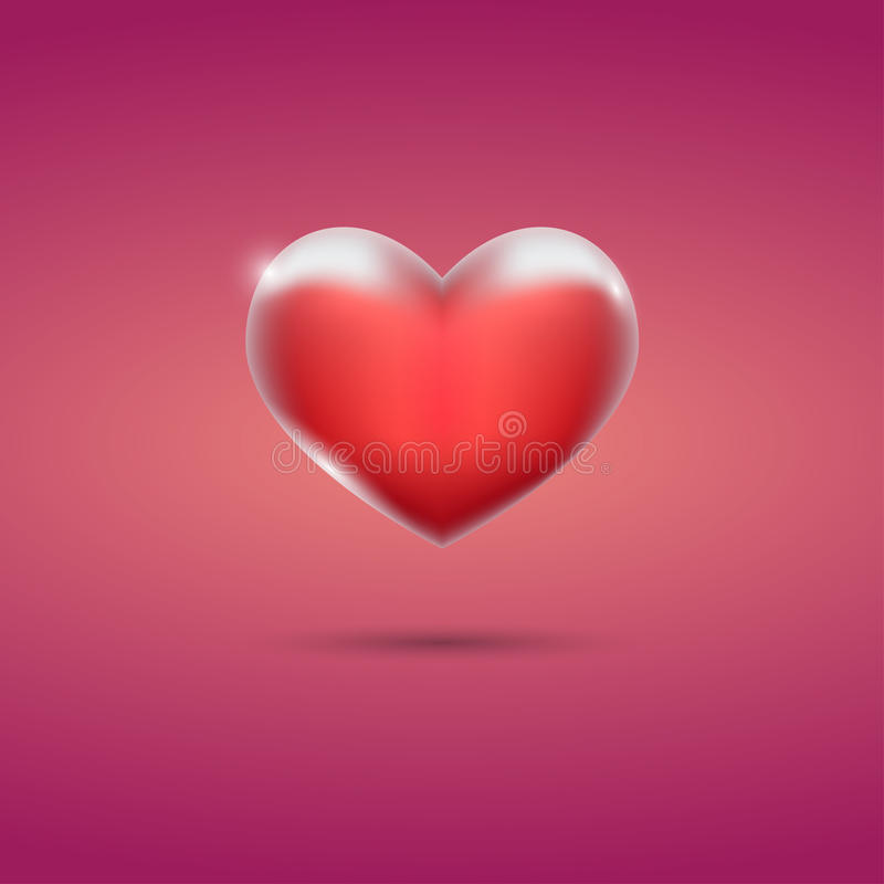 Glowing red heart on pink background vector illustration