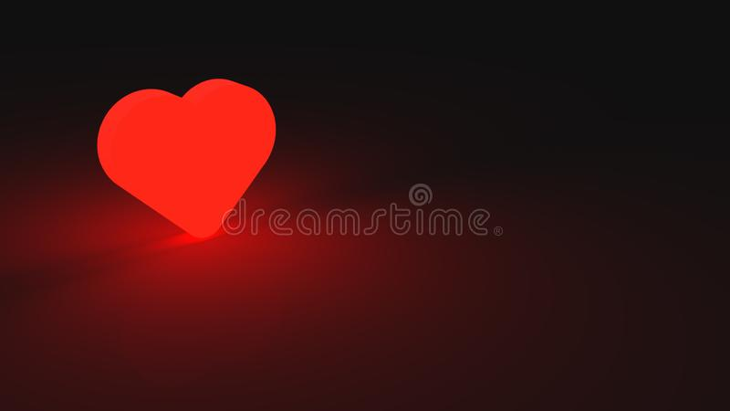 Glowing red heart placed on black desk. Symbol of love and romance. 3D render of romantic valentine celebration vector illustration
