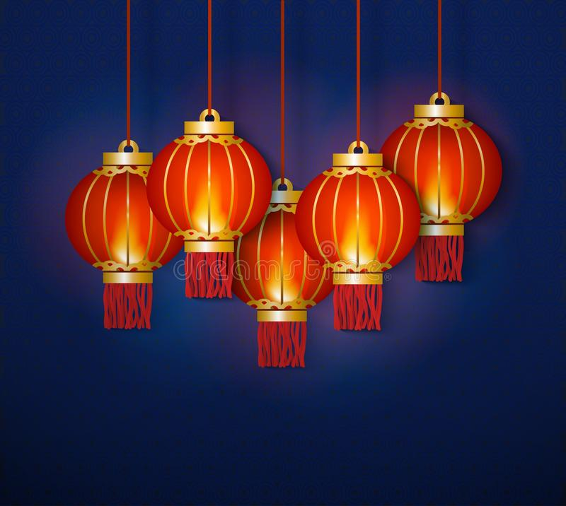 Glowing red traditional Chinese lanterns and lamps for celebration. A group of red paper Chinese lanterns hangs and glows together on a blue background royalty free illustration