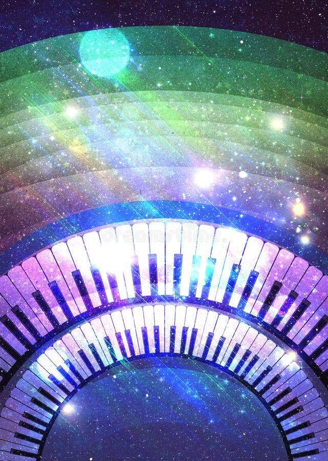Glowing retro music poster stock illustration