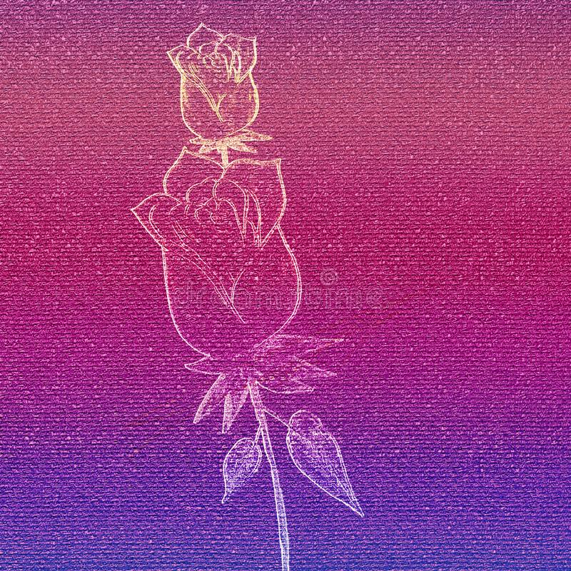 Glowing rose embossed on pink canvas paper. Hand drawn artwork. vector illustration