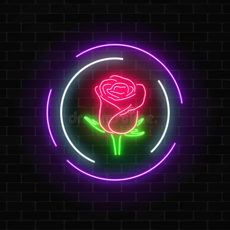 Glowing rose neon sign of flower shop in round frames on dark brick wall background. Design of floral store signboard. Street lights advertisement. Vector stock illustration