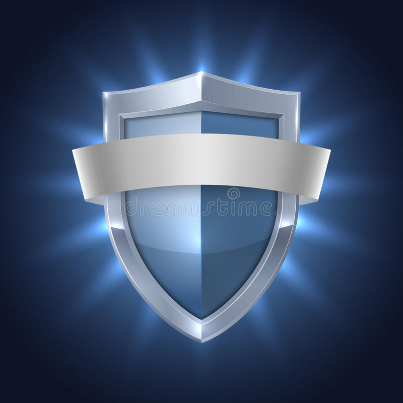Download Glowing Shield With Blank Ribbon Safety Badge Stock Vector - Illustration of ribbon, secure: 36418760