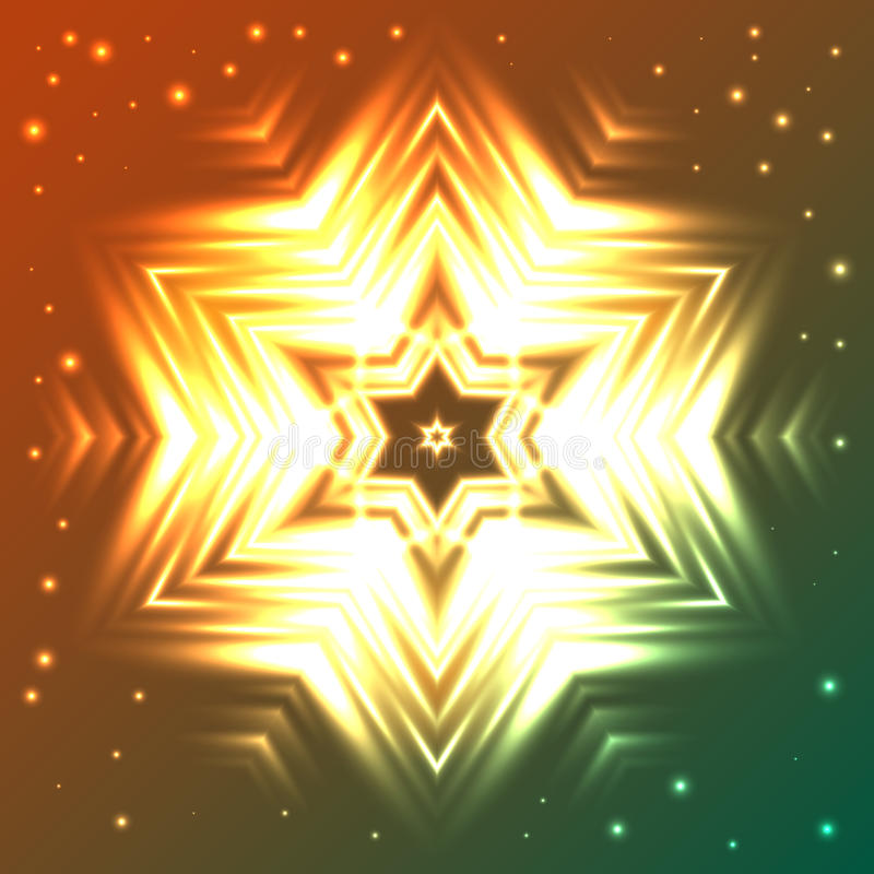 Glowing snowflake on orange and green gradient background with sparkles. Abstract glowing snowflake on orange and green gradient background with sparkles stock illustration