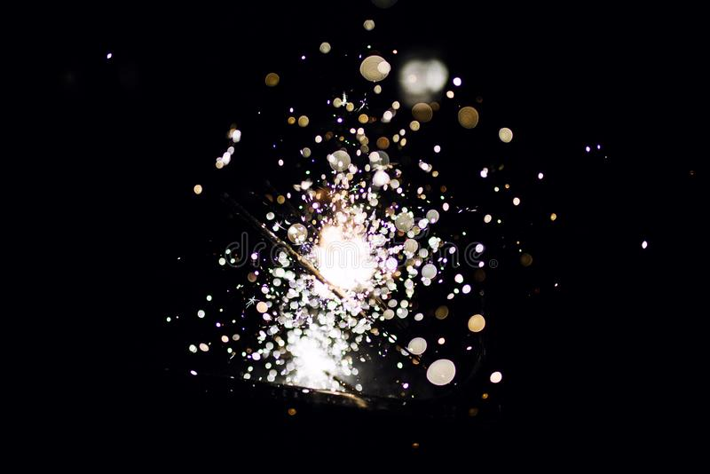 Glowing Sparks in the dark royalty free stock photos