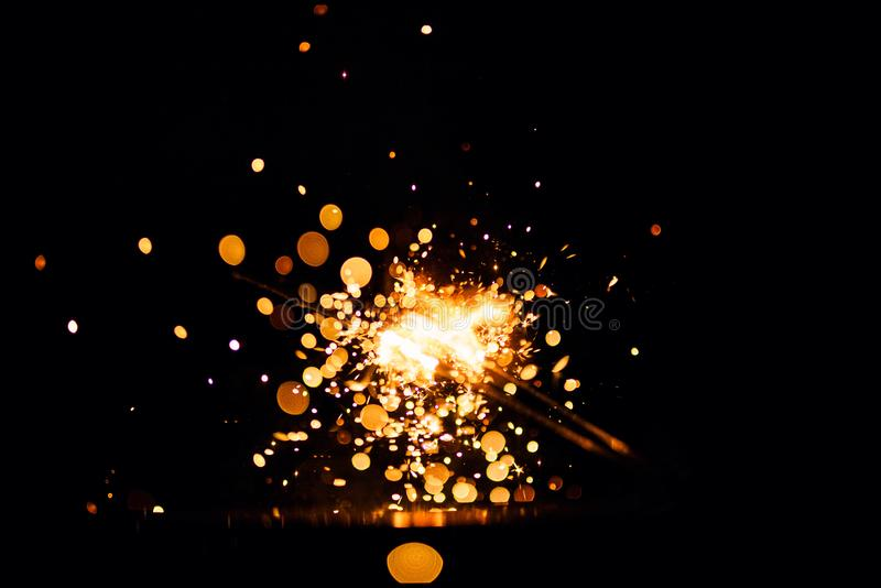 Glowing Sparks in the dark stock images