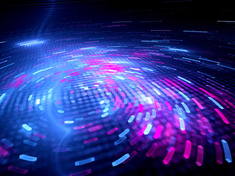 Glowing spinning colorful big data stock illustration