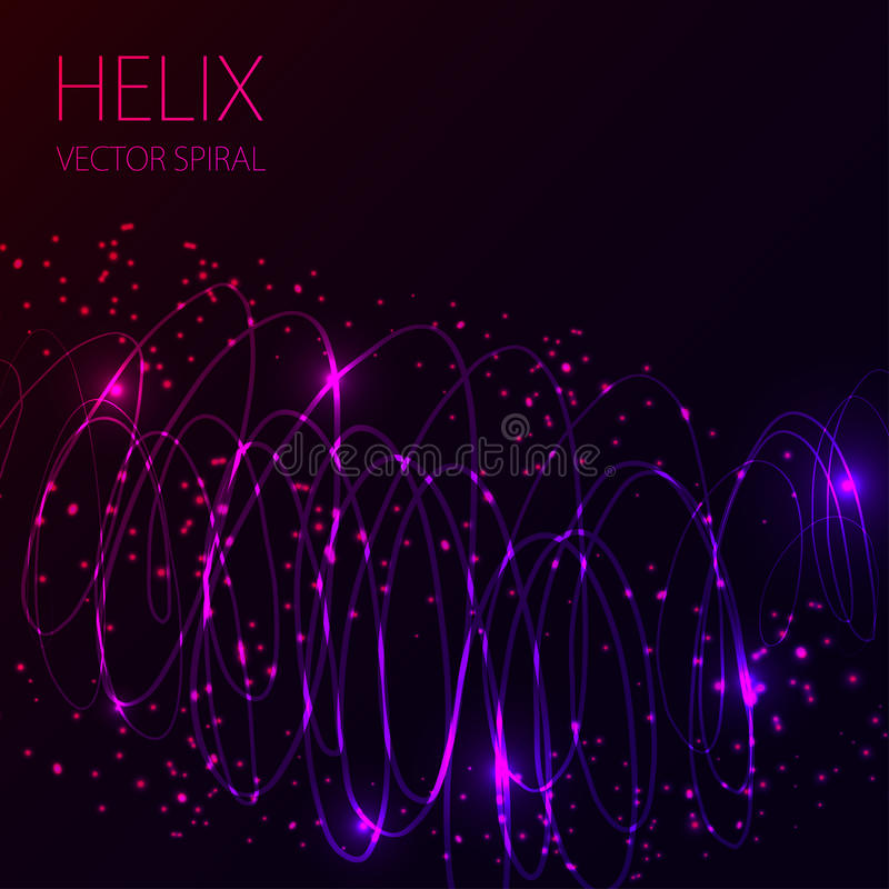 Glowing spiral on dark background. Blue and pink abstract light hi tech concept. royalty free illustration