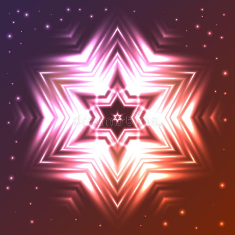 Glowing star on dark gradient background with sparkles. Abstract glowing star on dark gradient background with sparkles royalty free illustration