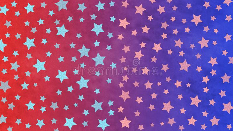 Bright Stars Pattern in Blue and Red Grunge Background vector illustration