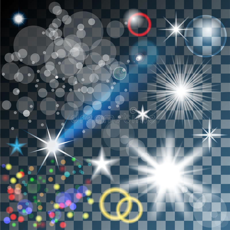 Glowing stars, and sparkles. Lights. Glowing stars, and sparkles on Transparent background. Illustration vector illustration