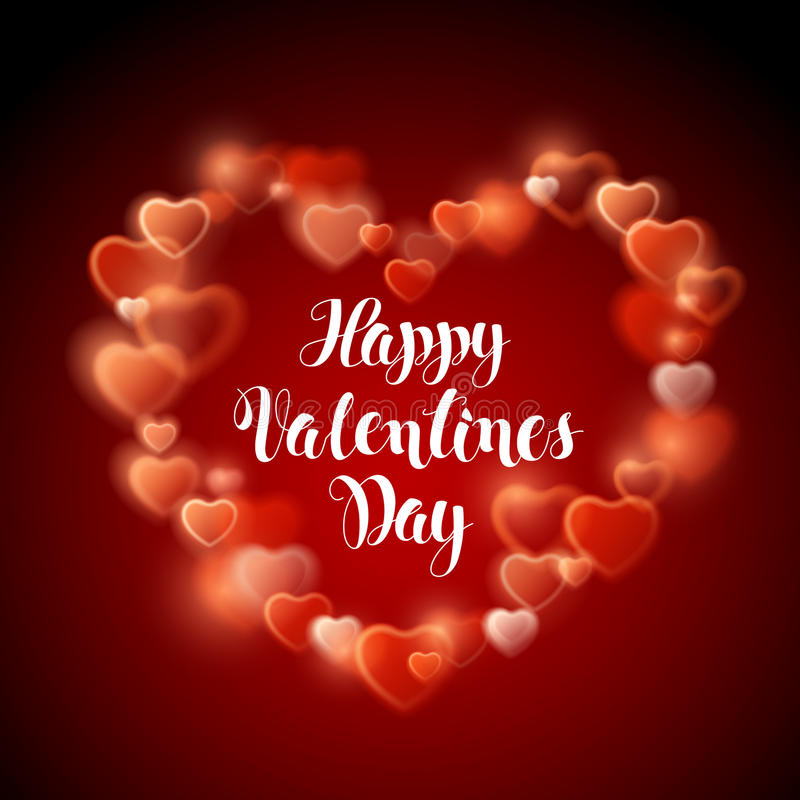 Glowing stream of sparkles and lens flare light effect. Decoration element. Happy Valentines Day. Holiday vector illustration of shiny heart on red background vector illustration