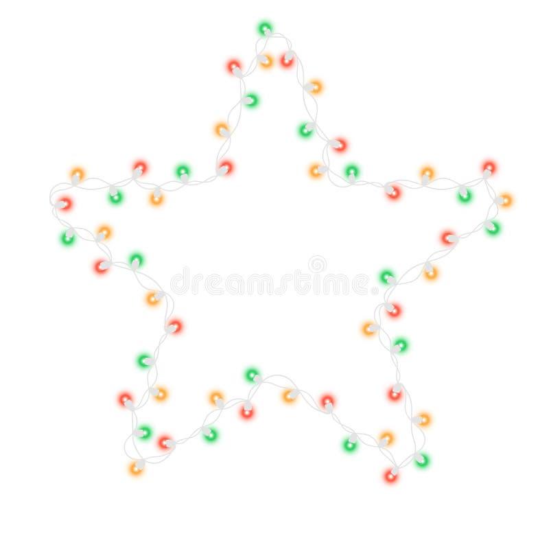 Fir tree star string light bulb garland. Glowing string light bulb garland in star shape isolated on black background. Vector illustration of realistic New Year royalty free illustration