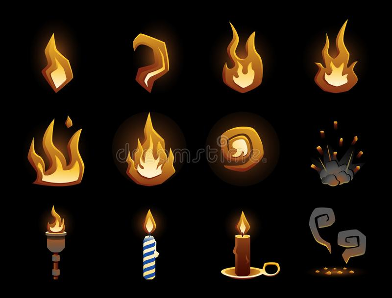 Glowing stylized vector fire icons isolated on black vector illustration