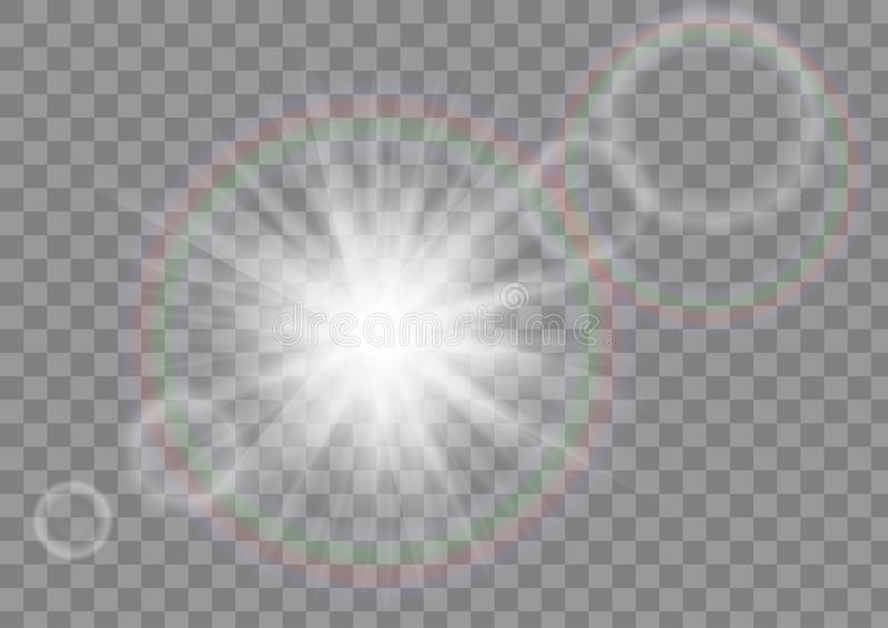 Glowing sun rays sparkle star with lens flare effect on transparent vector background. royalty free illustration