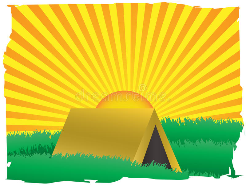 Glowing sun rise over camping tent inside grassy f vector illustration