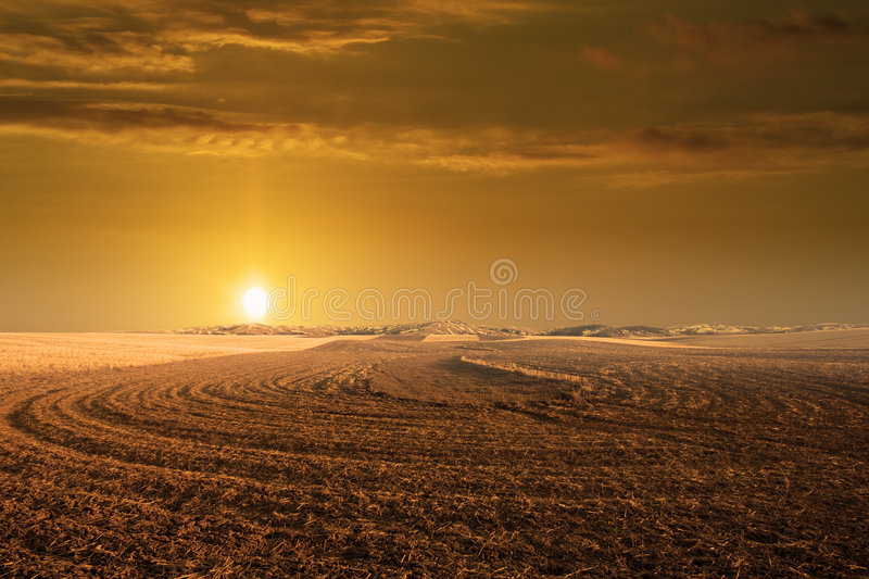 Glowing sunset in Montana stock image