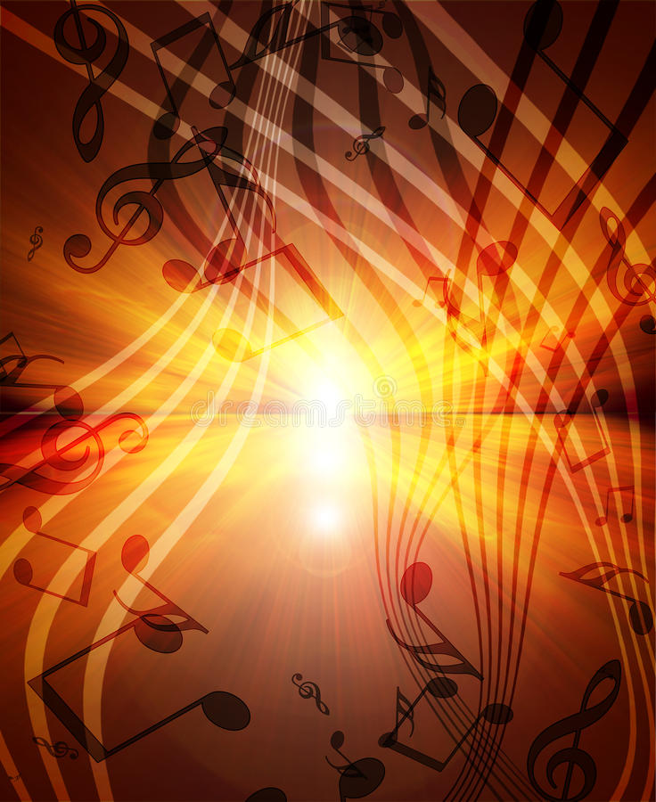 Download Glowing Sunset With Musical Stock Illustration - Illustration of event, music: 21796861
