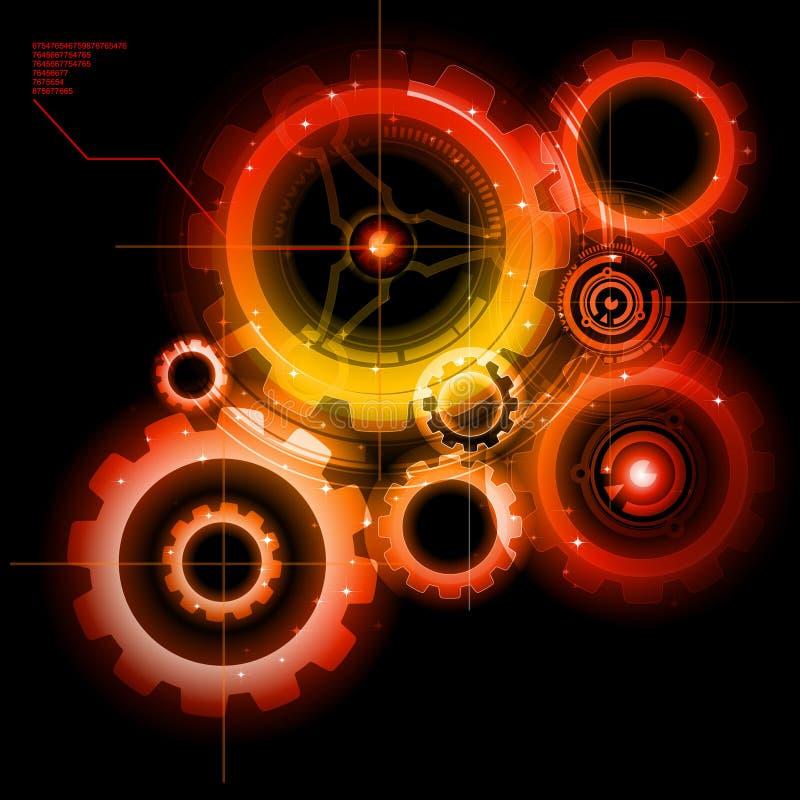 Glowing Techno Gears. Industrial Blueprint stock illustration