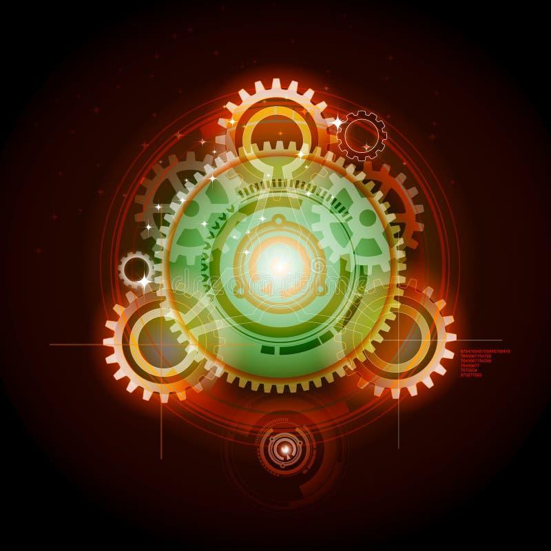 Glowing Techno Gears vector illustration