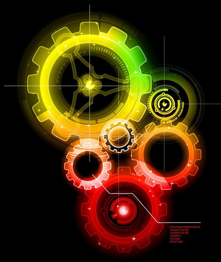 Glowing Techno Gears. Glowing Industrial Techno Gears Concept stock illustration