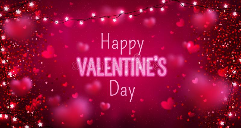 Glowing text for Happy Valentine`s Day greeting card. Cute love banner for 14 February. vector illustration