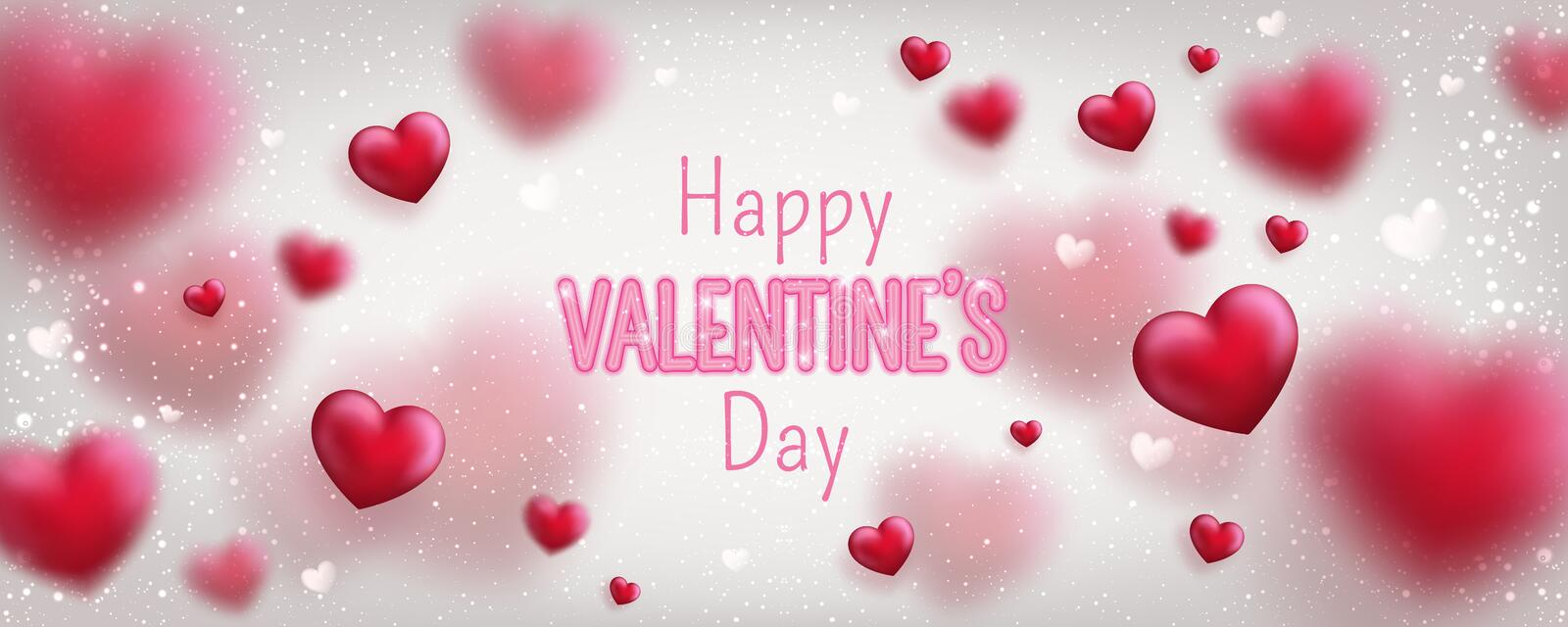 Glowing text for Happy Valentines Day greeting card. Cute love banner for 14 February. Holiday background with 3d hearts, light, stars on white. Vector stock illustration