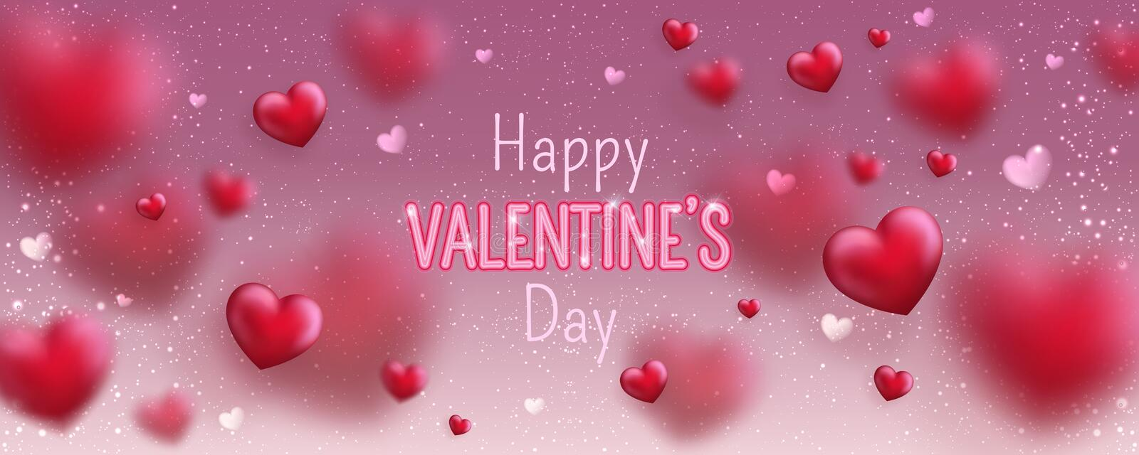 Glowing text for Happy Valentines Day greeting card. Cute love banner for 14 February. Holiday background with 3d hearts, light, stars on pink. Vector vector illustration