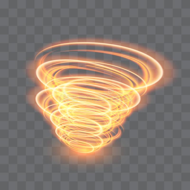 A glowing tornado. Rotating wind. Beautiful wind effect. Isolated on a transparent background. Vector illustration stock illustration