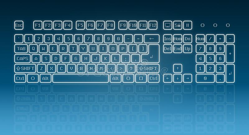 Glowing touch screen keyboard. Touch screen virtual keyboard, glowing keys and reflection on blue background royalty free illustration