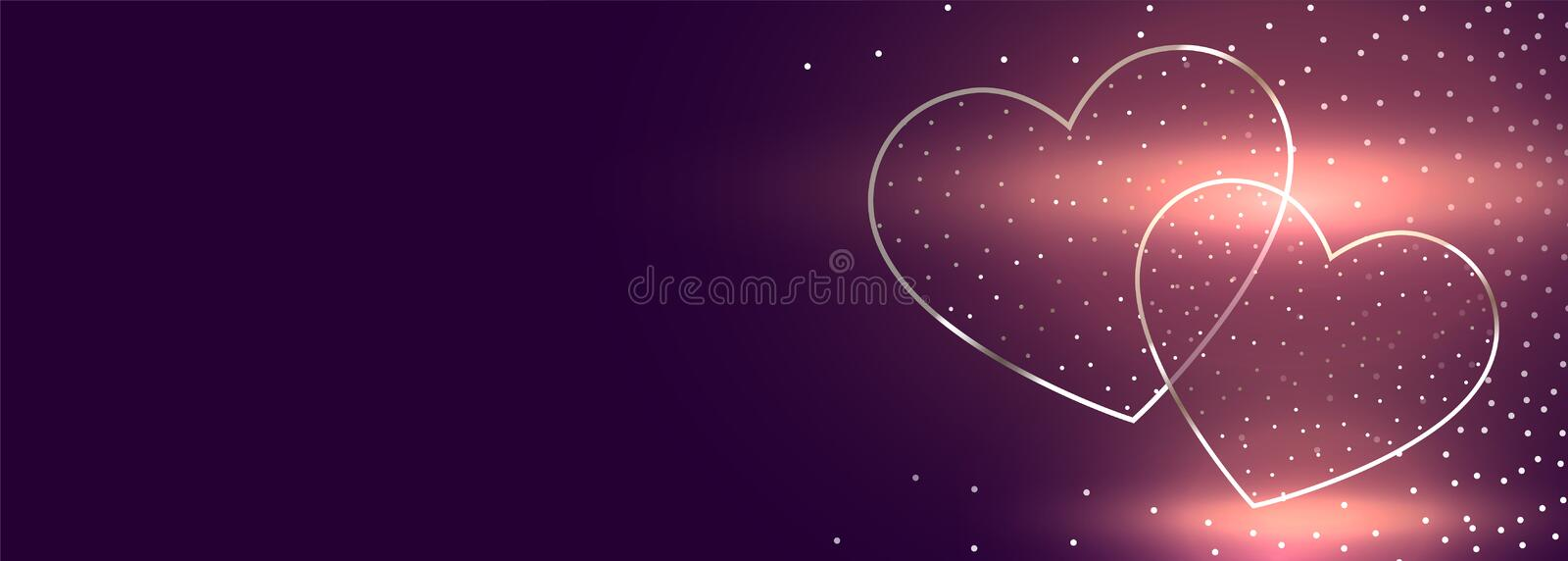 Glowing two hearts valentines day banner with text space. Vector vector illustration