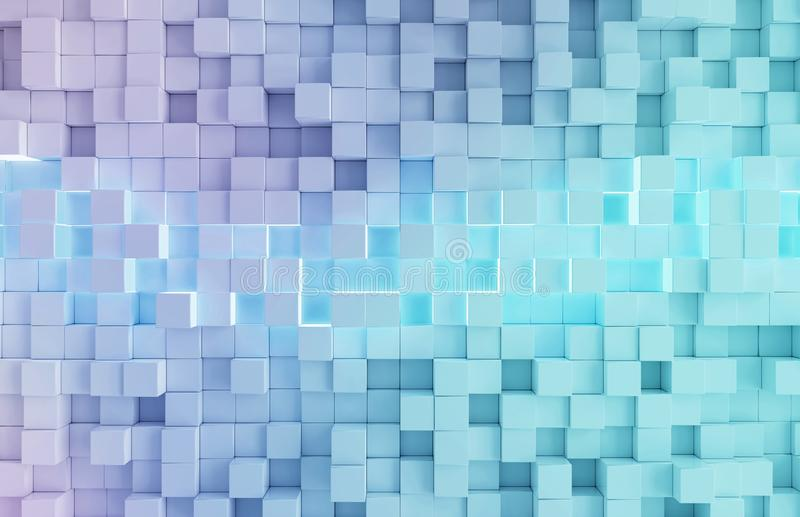 Glowing white and blue squares background pattern 3D rendering. Glowing white and blue abstract squares background pattern 3D rendering stock illustration