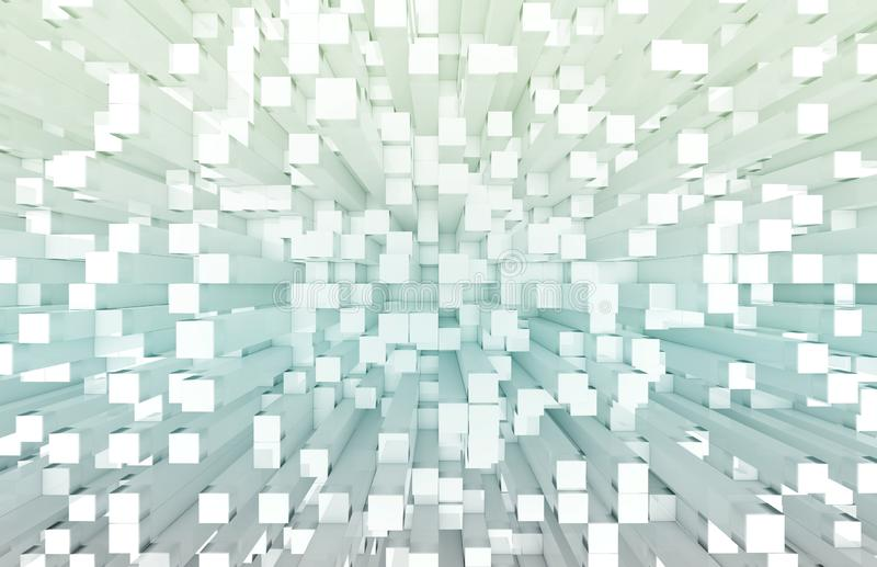Glowing white and blue squares background pattern 3D rendering. Glowing white and blue abstract squares background pattern 3D rendering vector illustration