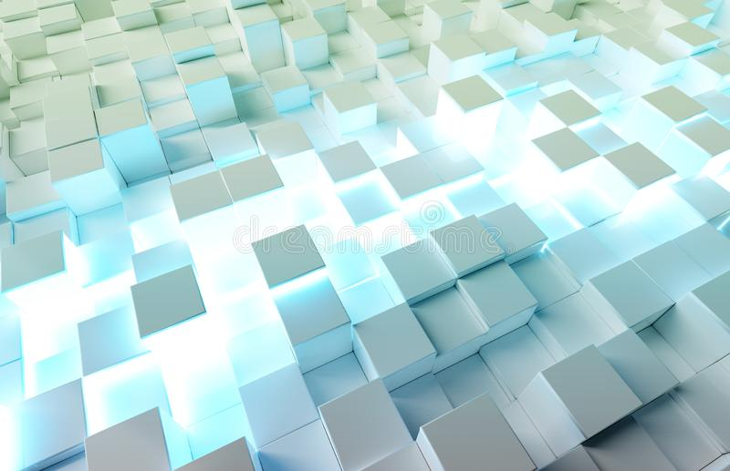 Glowing white and blue squares background pattern 3D rendering. Glowing white and blue abstract squares background pattern 3D rendering royalty free illustration