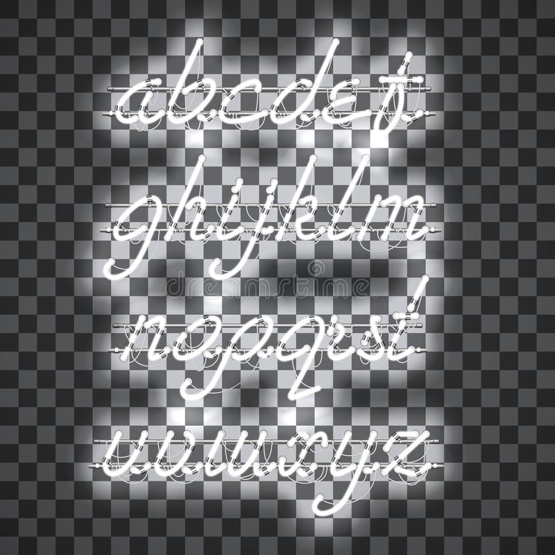 Glowing White Neon Lowercase Script Font. Glowing White Neon Script Font with lowercase letters from A to Z with wires, tubes, brackets and holders. Shining and stock illustration
