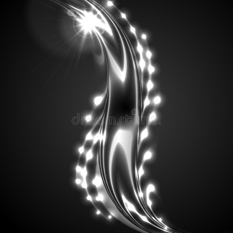 Glowing white silver wave on black background stock illustration